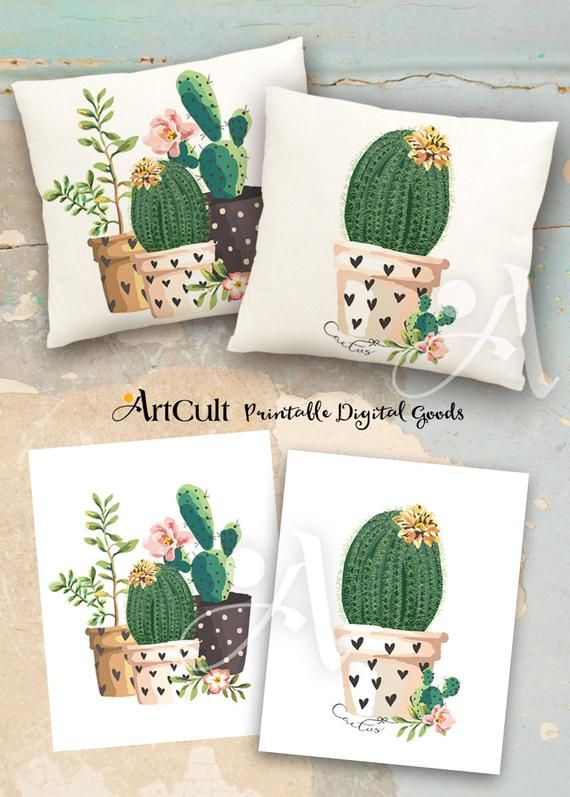 Photo of 2 Printable Images Digital Sheets CACTUSES to print on fabric or paper, Iron On Transfer for tote bags t-shirts pillows, wall art decor