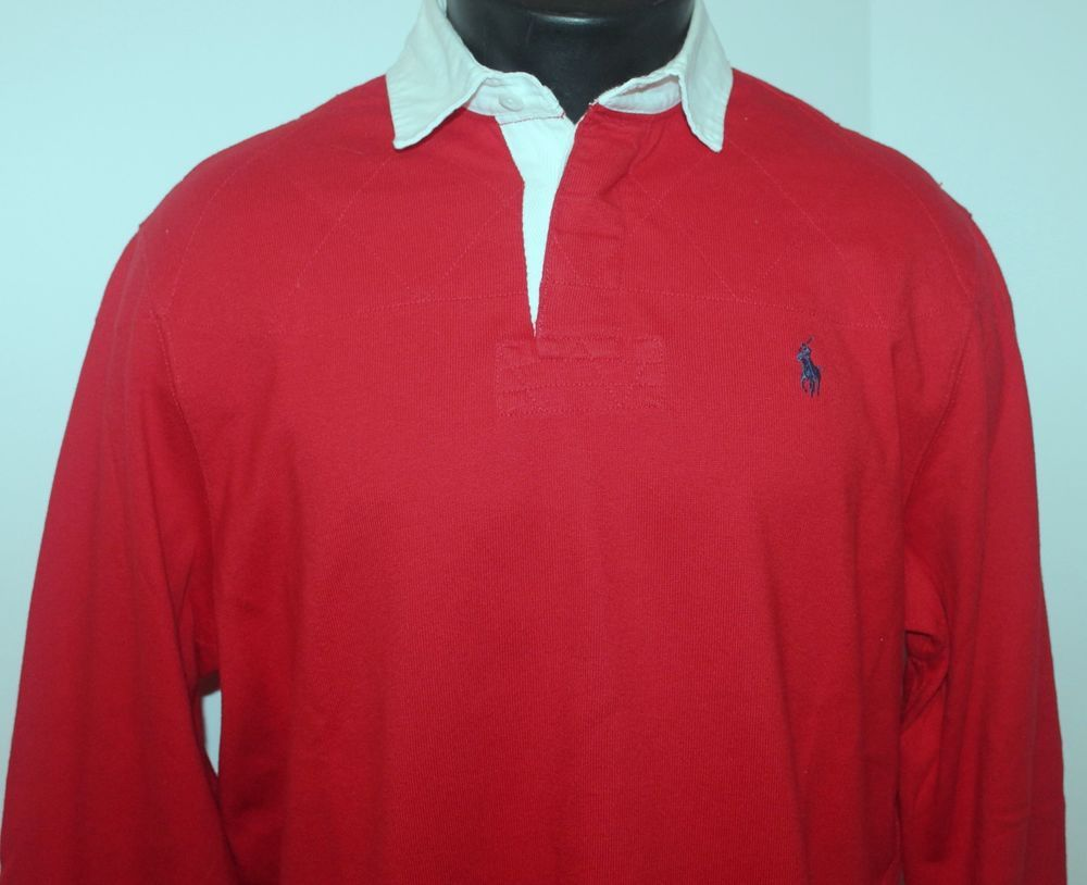 Polo By Ralph Lauren Mens M Medium Red Rugby Shirt Long Sleeve