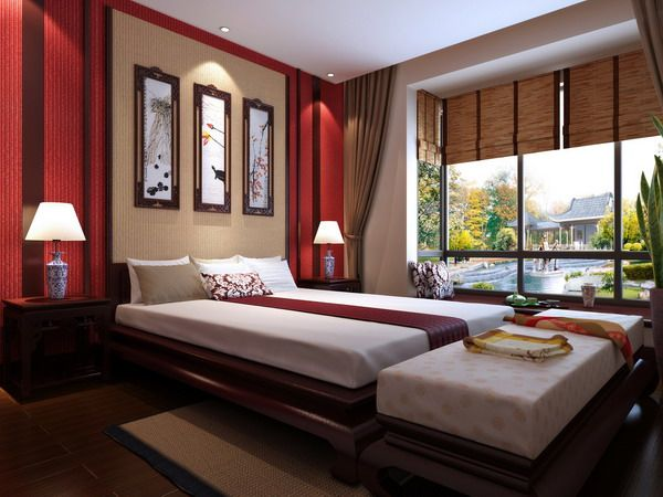 Feng Shui Modern Bedroom Design with Modern Bed Furniture in Red