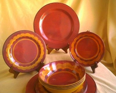 RED Tuscan Southwest Stoneware-Look NEW Melamine Patio Dish Plate 12-PC SET & RED Tuscan Southwest Stoneware-Look NEW Melamine Patio Dish Plate 12 ...