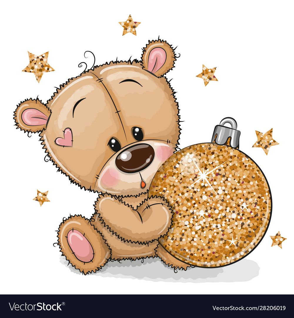 Cute Cartoon Teddy Bear With A Christmas Toy On A White Background Download A Free Preview Or High Quality Christmas Drawing Teddy Bear Cute Cartoon Pictures