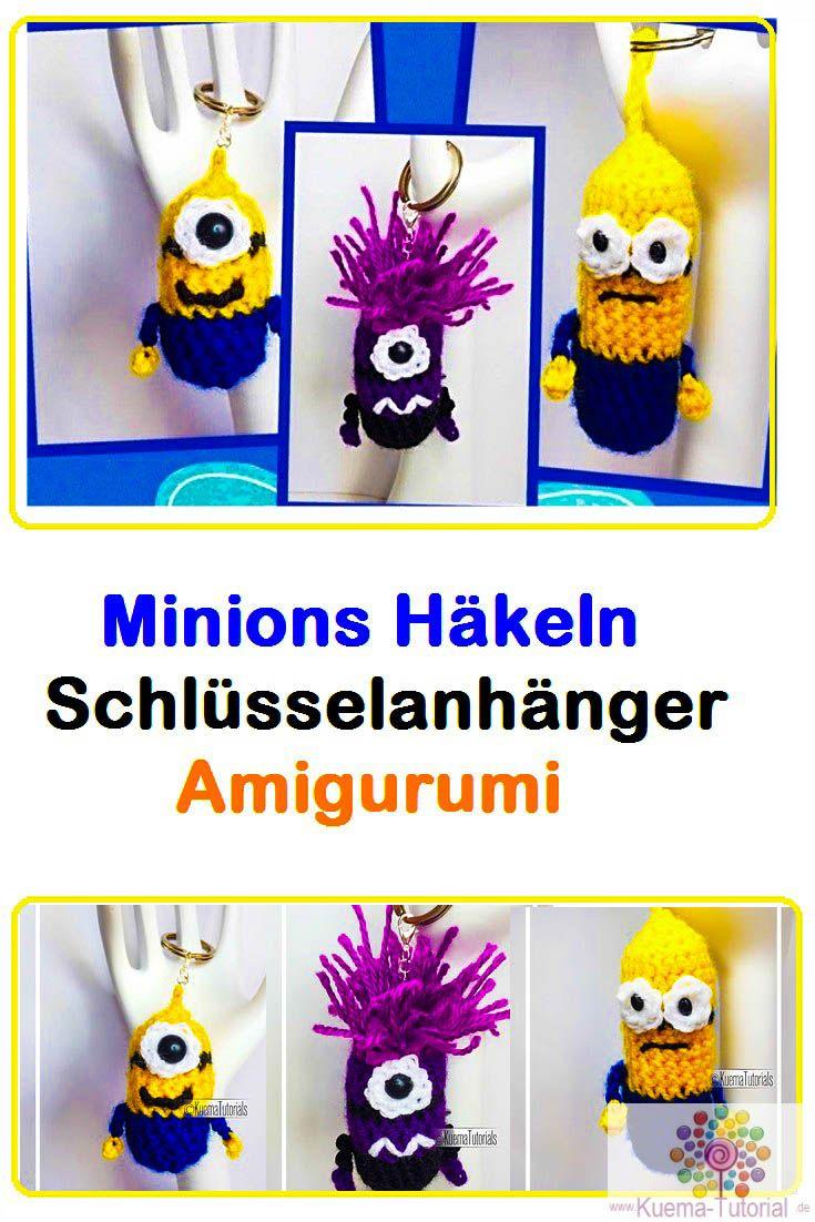 Minion Schlüsselanhänger - Häkelanleitung | Amigurumi anleitung ...