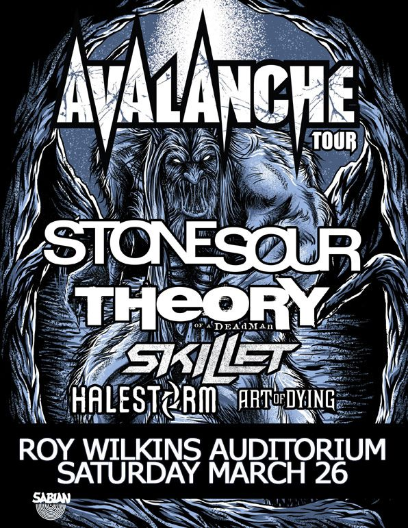 skillet concert poster. avalanche tour 2011 stone sour with special guests theory of a deadman, skillet, halestorm skillet concert poster