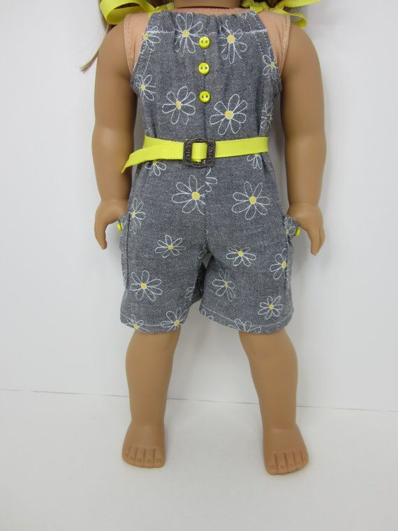 "Handmade 18"" doll clothes- 3 pc. Grey chambray pillowcase romper, yellow belt and headband."