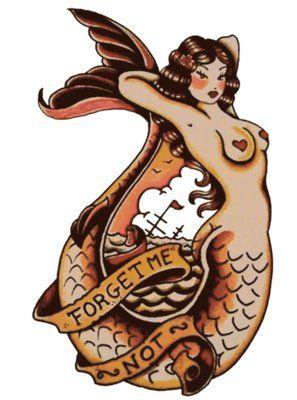 forget me not mermaid sailor jerry t shirt design rockabilly psychobilly vulture graffix. Black Bedroom Furniture Sets. Home Design Ideas