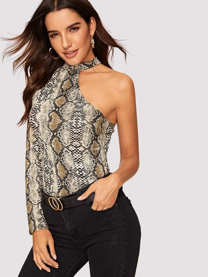 35669a9e0c0 Shein One Shoulder Choker Snakeskin Fitted Tee in 2019 | Products ...