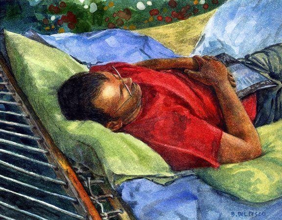Watercolor – Summer Sunday, DRAWING  ART GALLERY Contemporary ART, #illustration, #art, #gallery, #d...