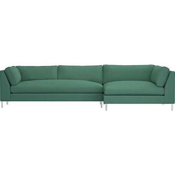 Bon Decker 2 Piece Blue Velvet Sectional Sofa