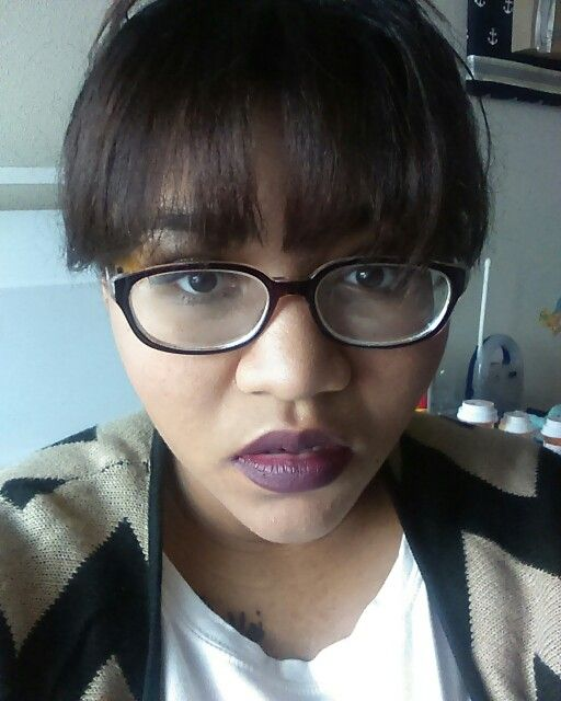 Purple lips and bangs