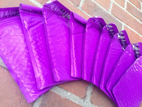 50 4x8 Purple Glossy Poly Bubble Mailers  4x8 Padded by ShipAway, $11.00