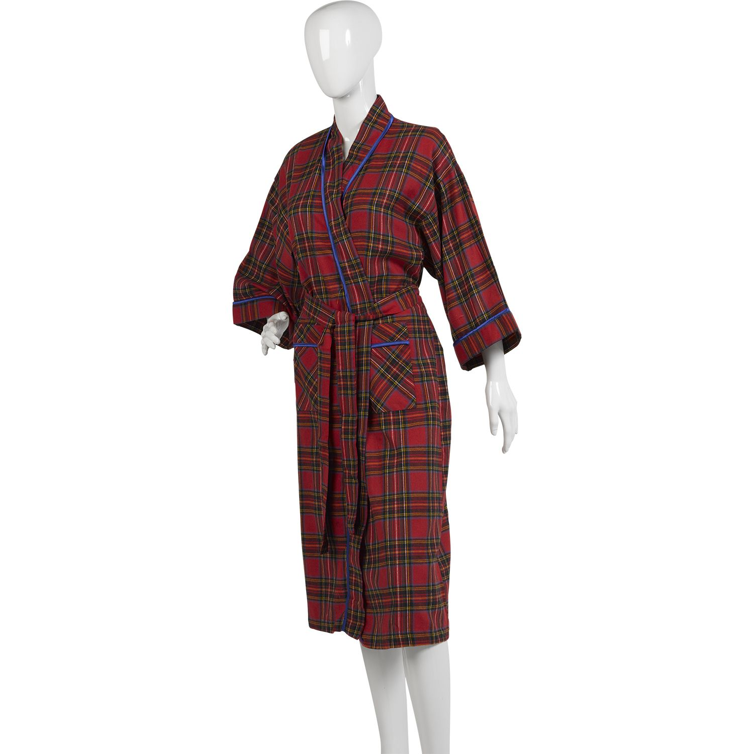 f1c545814e Womens-Combed-Cotton-Tartan-Dressing-Gown-Ladies-Lightweight-Wrap-Check- Bathrobe