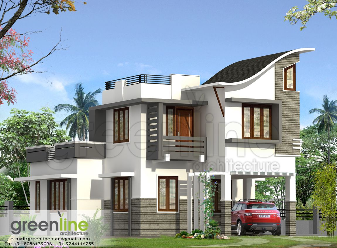 Front Elevation Of Kerala Model Houses : Kerala house plan elevation at sqft flat