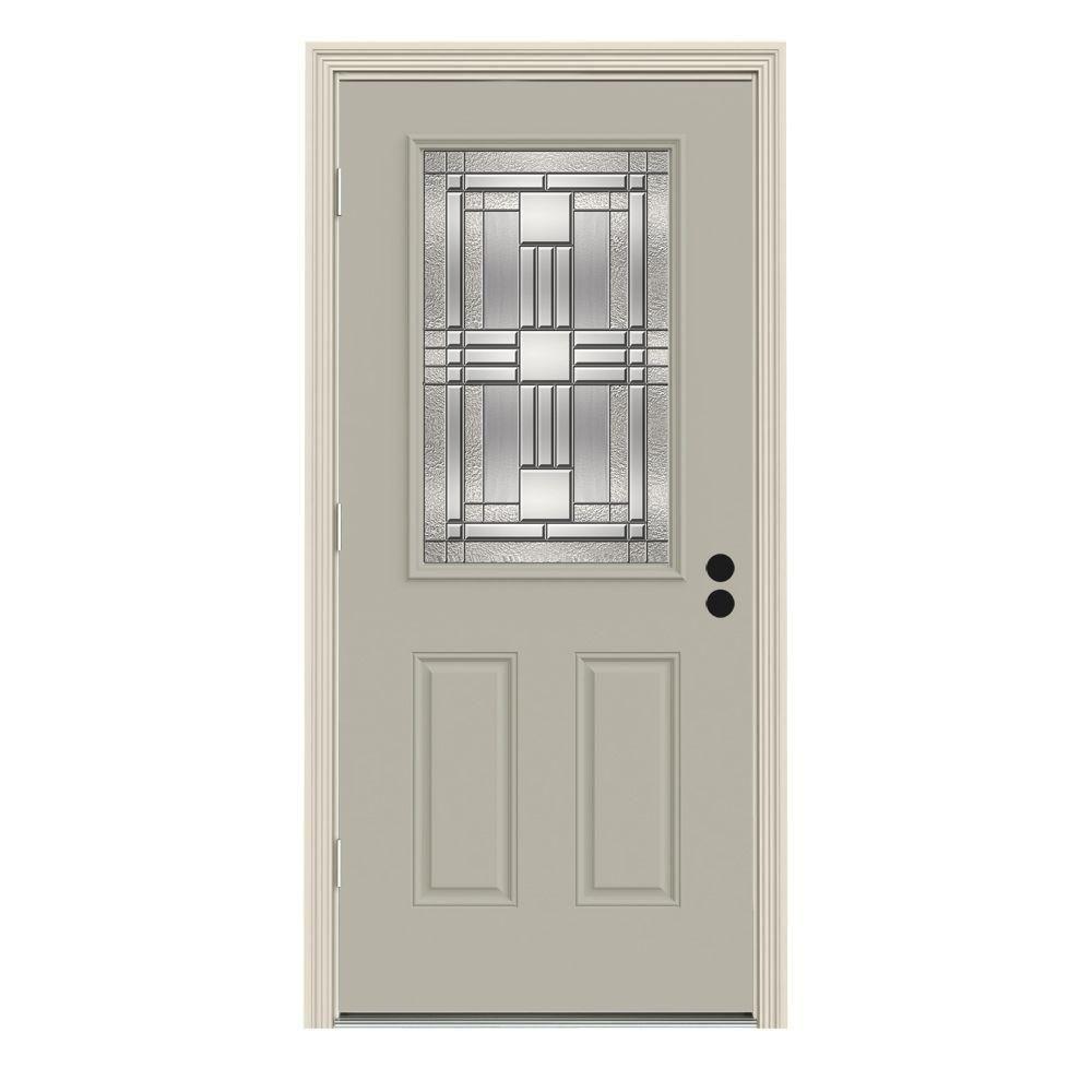Jeld Wen 32 In X 80 In 1 2 Lite Cordova Desert Sand Painted Steel Prehung Right Hand Outswing Front Door W Brickmould Thdjw186800167 Steel Doors House Styles Entry Doors
