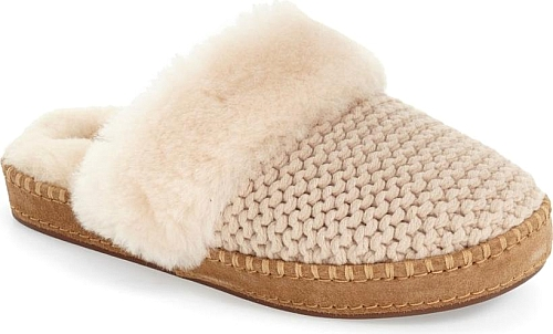 784f14ebeca Women s Ugg Aira Knit Scuff Slipper in Cream Knit. Kick back in style and  comfort with a textured-knit UGG slipper featuring a durable rubber sole
