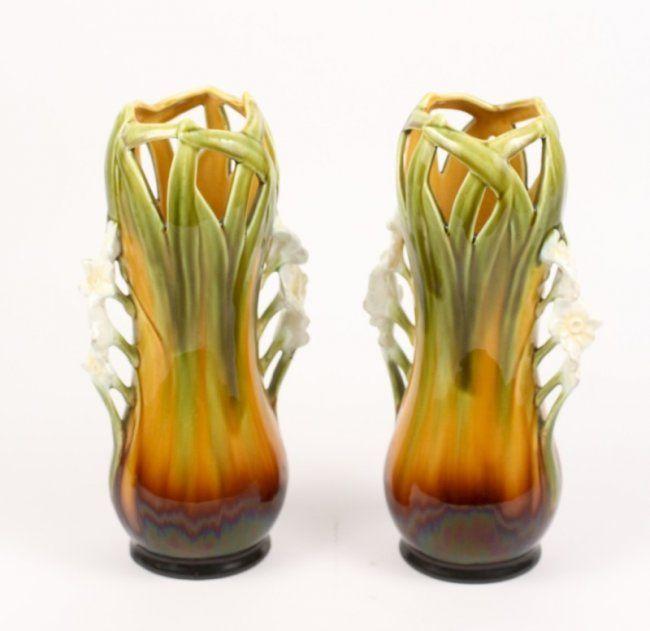 Pair of Art Nouveau Majolica Table Vases