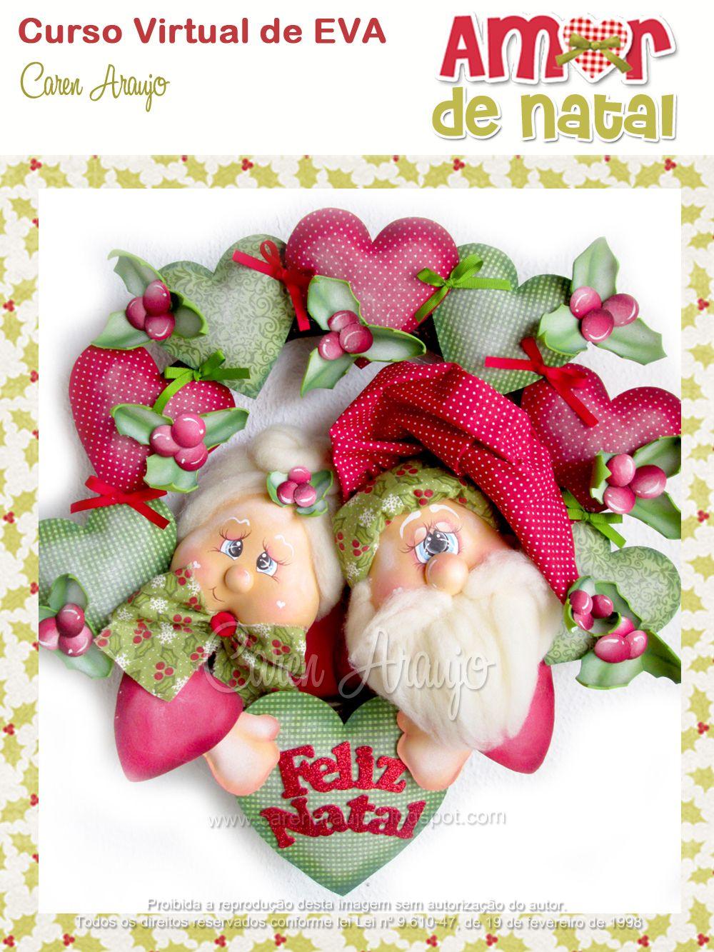 Corona de navidad de santa y mama noel de caren araujo for Coronas de navidad