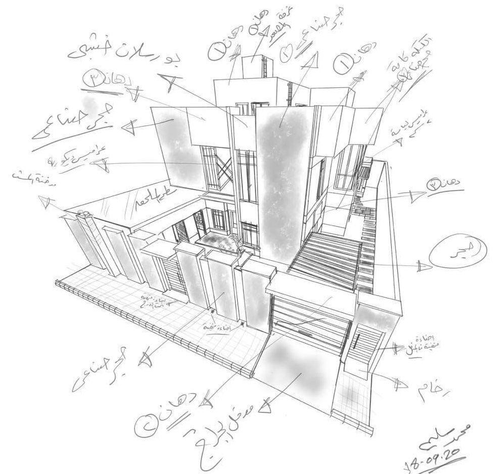 تصميم واجهة فيلا دورين وملحق مودرن ايجي ريفيت Container