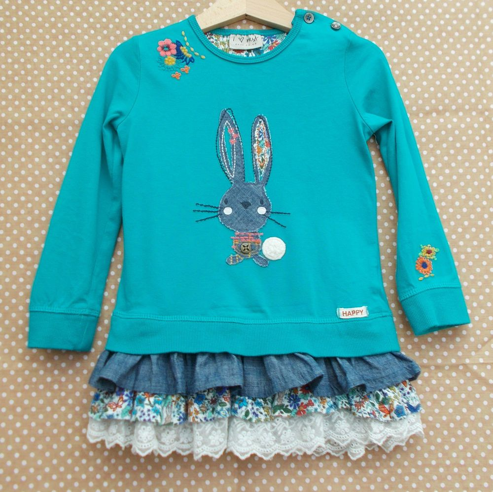 959267596 Girls NEXT Autumn Teal Bunny Tunic Dress 2-3 years with rabbit ...