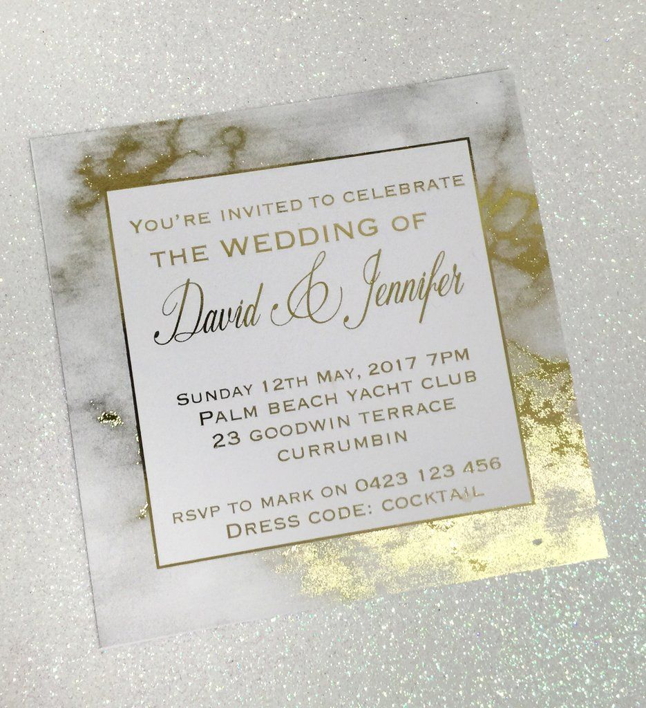 Gold Foil Marble Printed Wedding Invitation SAMPLE