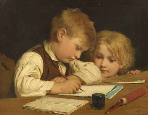 ANKER, ALBERT (1831 Ins 1910) Young boy writing with his little sister I. 1875. Oil on canvas. Signed and dated lower right: Anker 1875. 45 x 58 cm. Provenance: - Wallis collection, London, 1875. - Private collection, Deisswil, 1962. - Private collection Switzerland. Exhibited: Ins 1967, Albert Anker, No. 25 (with ill.). Literature: - Huggler, Max: Albert Anker, Katalog der Gemälde und Ölstudien, Bern 1962, No. 105. - Kuthy, Sandor / Bhattacharya-Stettler, Therese: Albert Anker. We...