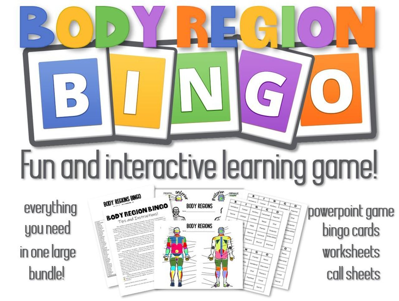Body Region Bingo Powerpoint Game Bingo Card Call