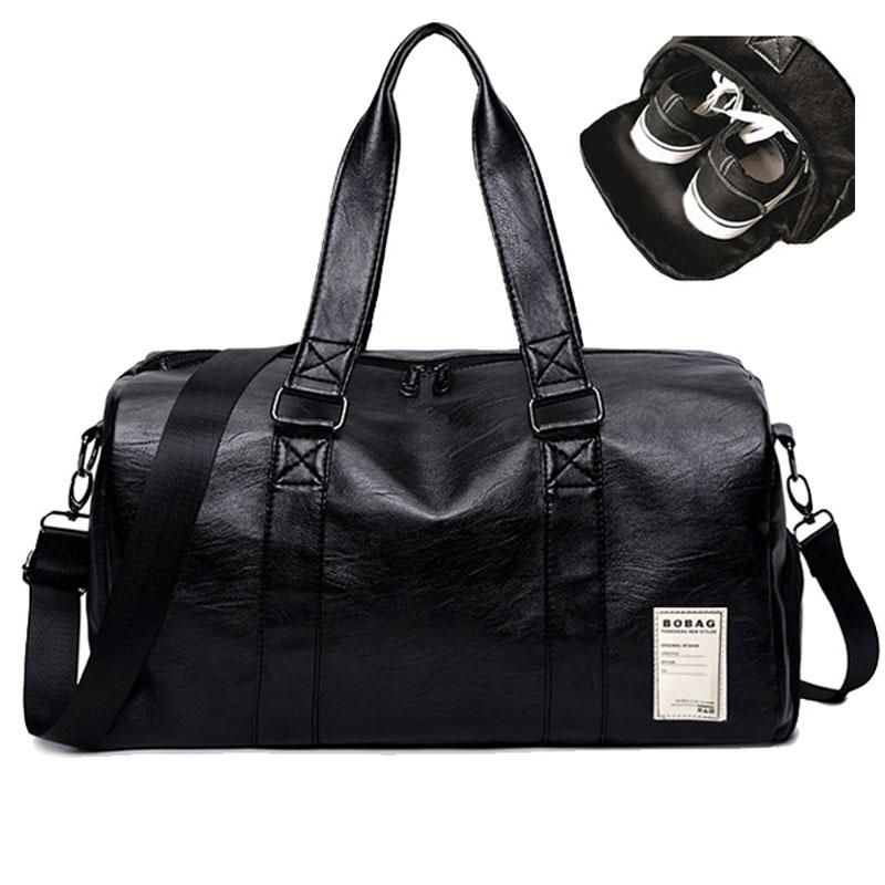 DUFFLE TOTE BAG GYM LARGE TRAVEL GENUINE LEATHER LUGGAGE SPORT SHOULDER STRAP 21