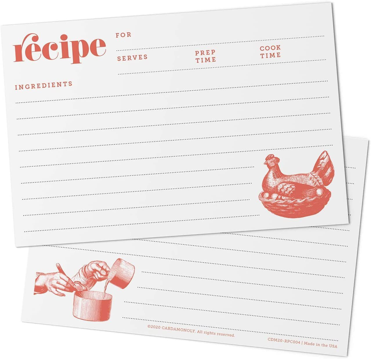 Amazon Com Recipe Cards 50 Pack Blank Recipe Cards Double Sided Vintage Style Design Perfect F Recipe Cards Printed Recipe Cards Recipe Card Holders