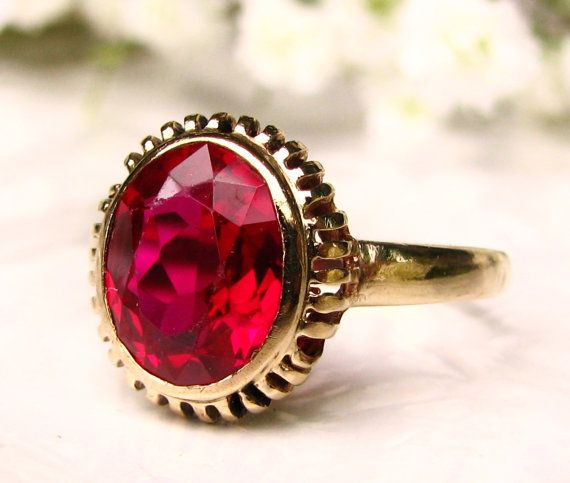 Vintage Ruby Engagement Ring 10k Yellow Gold Filigree 1 86ct Synthetic Ruby Ring Size 6 5 Ruby Engagement Ring Vintage Wedding Rings Vintage Antique Ruby Ring