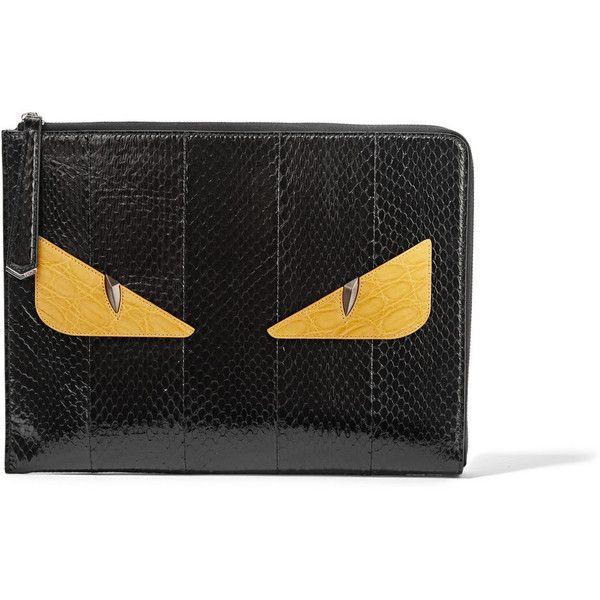 Fendi Bag Bugs large glossed-crocodile clutch ( 1 cd3e40f3dd087