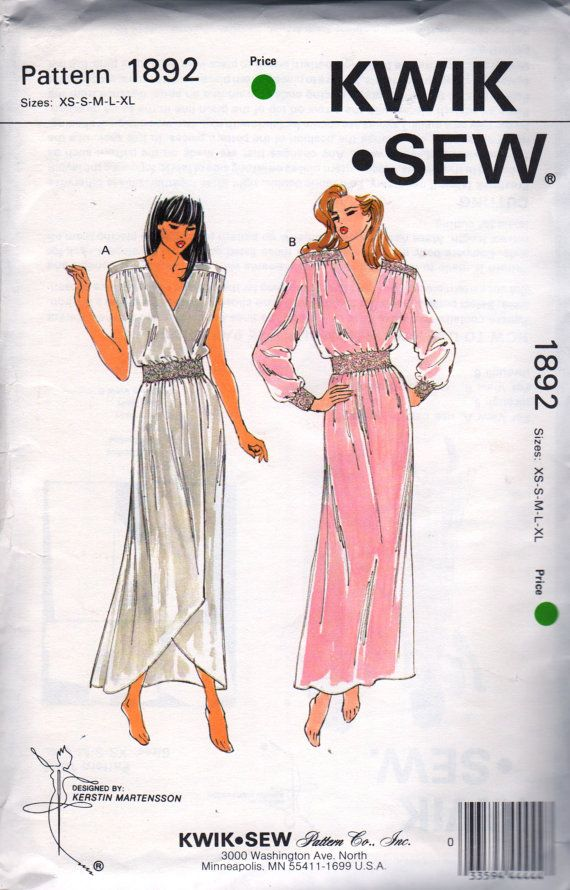 Kwik Sew 1386 1980s Misses Pullover Nightgown Pattern Low V Neck Elastic  Waist negligee womens vintage 051c38c18