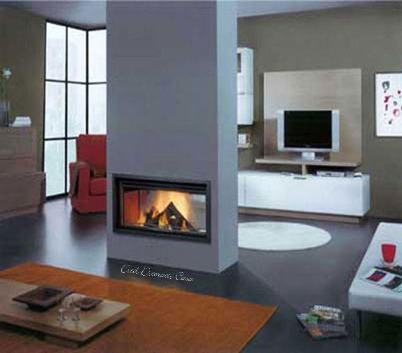 Grand insert double face maison poele a bois chemin e - Grand insert cheminee bois ...