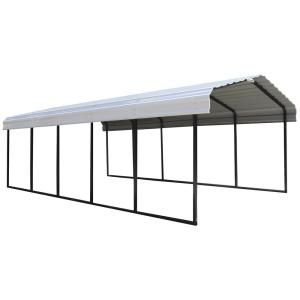 Arrow 12 Ft W X 24 Ft D X 7 Ft H Galvanized Black Eggshell Steel Wind And Snow Rated Carport Cph122407 The Home Depot In 2020 Steel Roof Panels Steel Carports Car Canopy