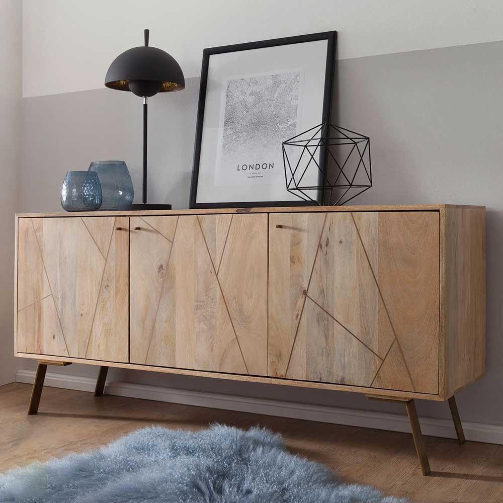 Landhaus Sideboard Paryta Aus Mangobaum Massivholz Und Metall 160 Cm Breit Kommode Design Sideboard Side Board
