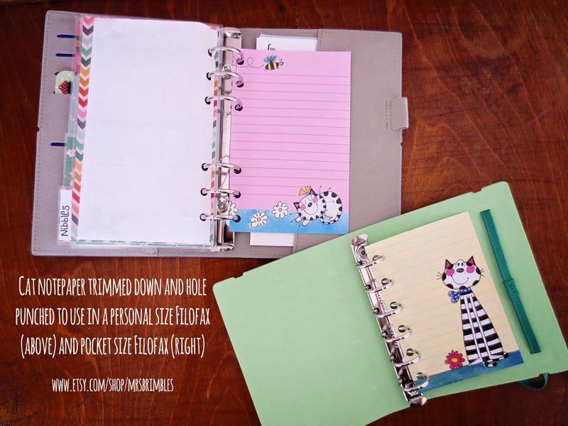Any size paper can be used in your Filofax, you just need to trim it to size and hole punch then you have cute paper!