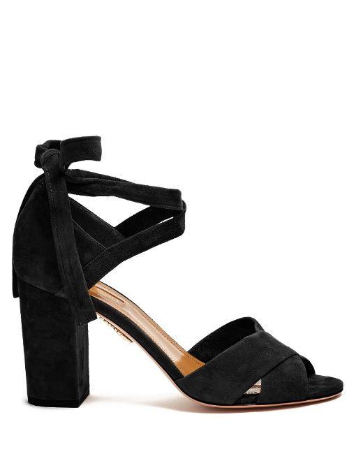 5c0b1b313f0 AQUAZZURA Tarzan Suede Block-Heel Sandals.  aquazzura  shoes  sandals