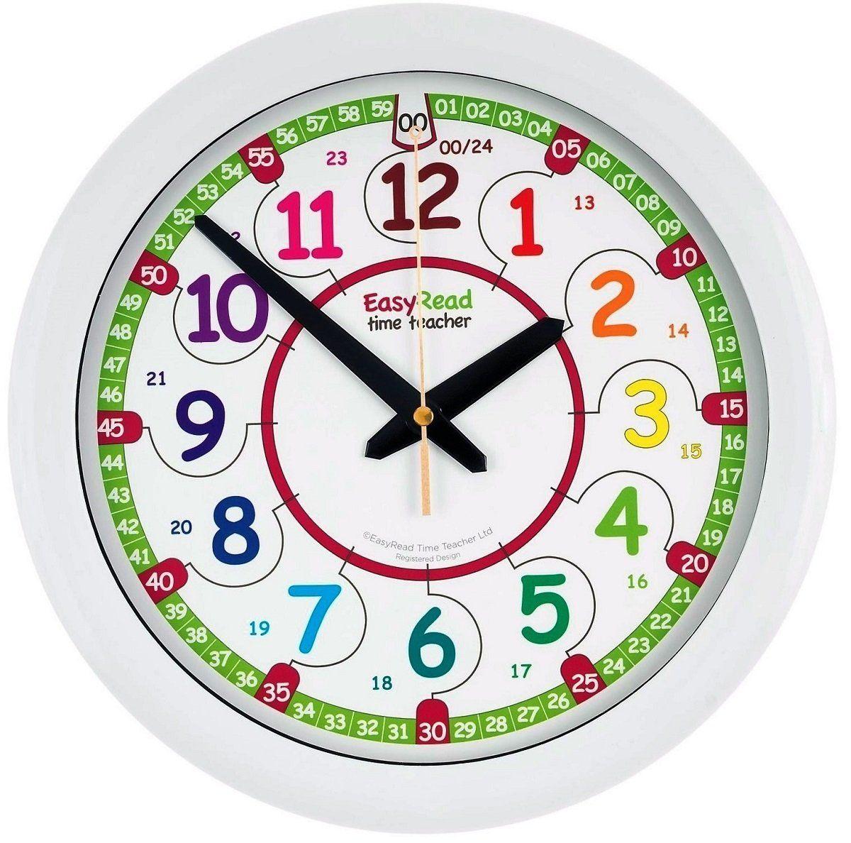 horloge murale pour enfants easyread time teacher avec affichage num rique 12 et 24. Black Bedroom Furniture Sets. Home Design Ideas