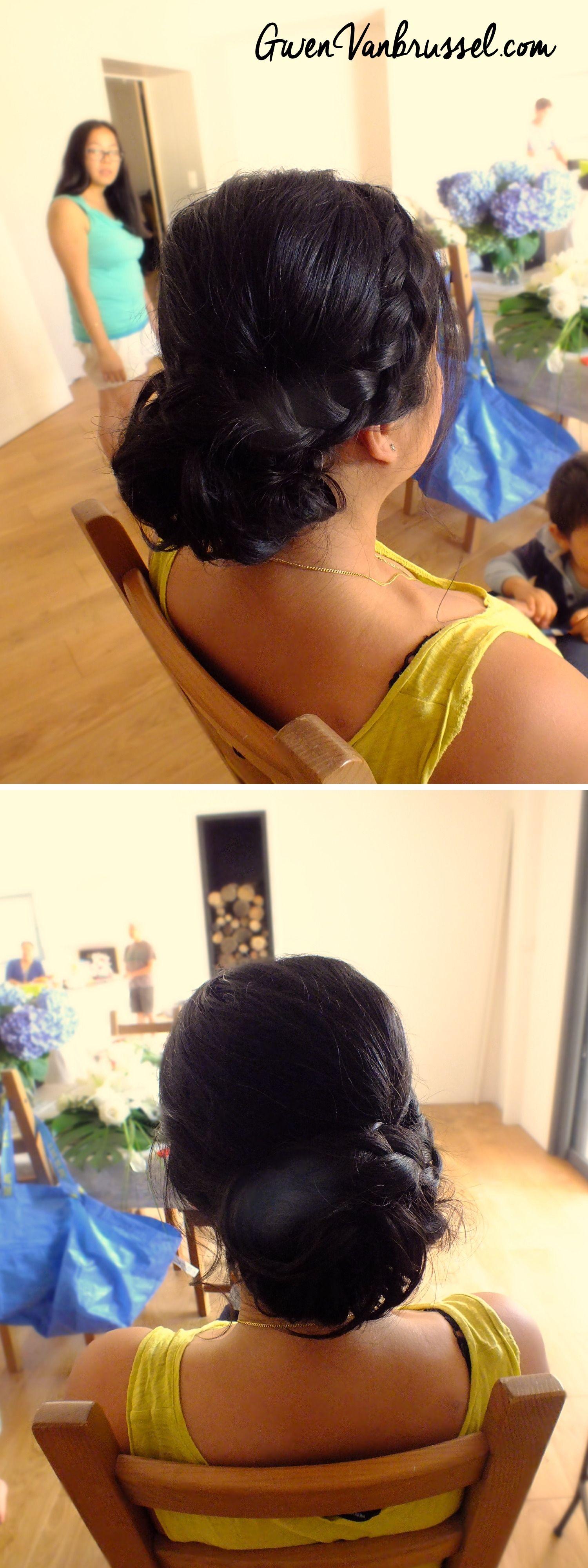 Chignon bas bouclé et tresse sur le côté - Par Gwen Vanbrussel | Chignon mariée, Chignon bas ...