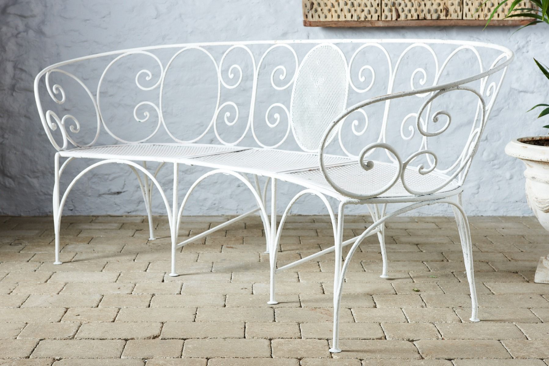 Curved White Bench White Bench Wrought Iron Bench Garden Furniture