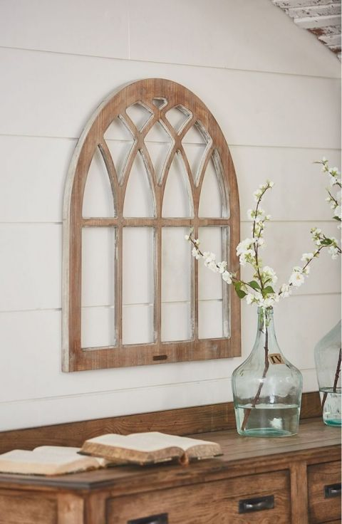 DIY Fixer Upper Cathedral Window Frame | Window headboard, Cathedral ...