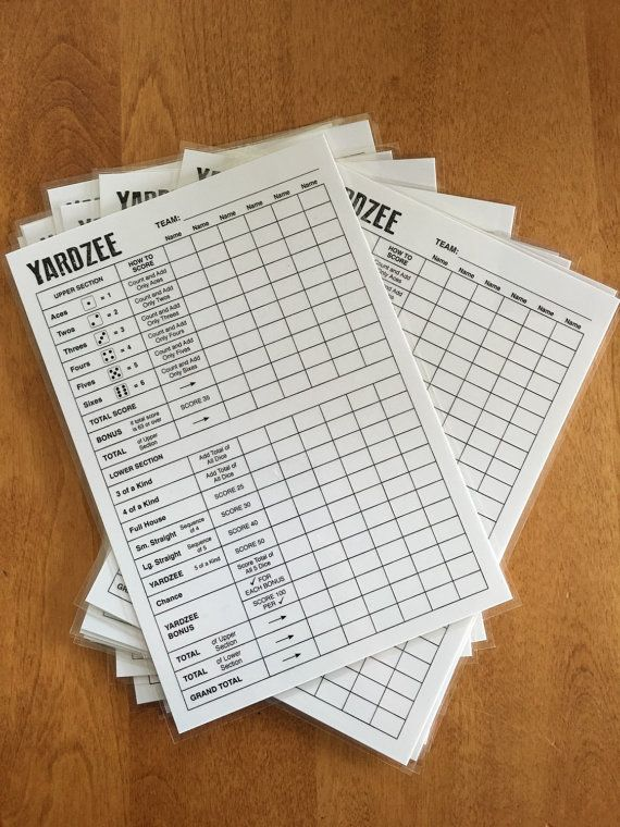 Sample Yahtzee Score Sheet X Laminated Yardzee Score Card For
