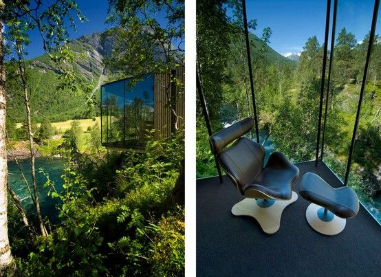 A hotel that is completely immersed in nature. This is Juvet, a super cool boutique hotel located in the Norwegian countryside. 7 glass and wood boxes set on the river bank and surrounded by forest and boulders.