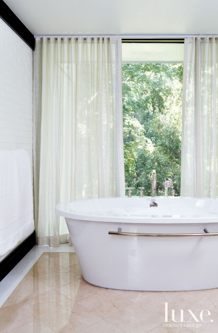Sheer drapery white modern bathroom luxesource luxe magazine