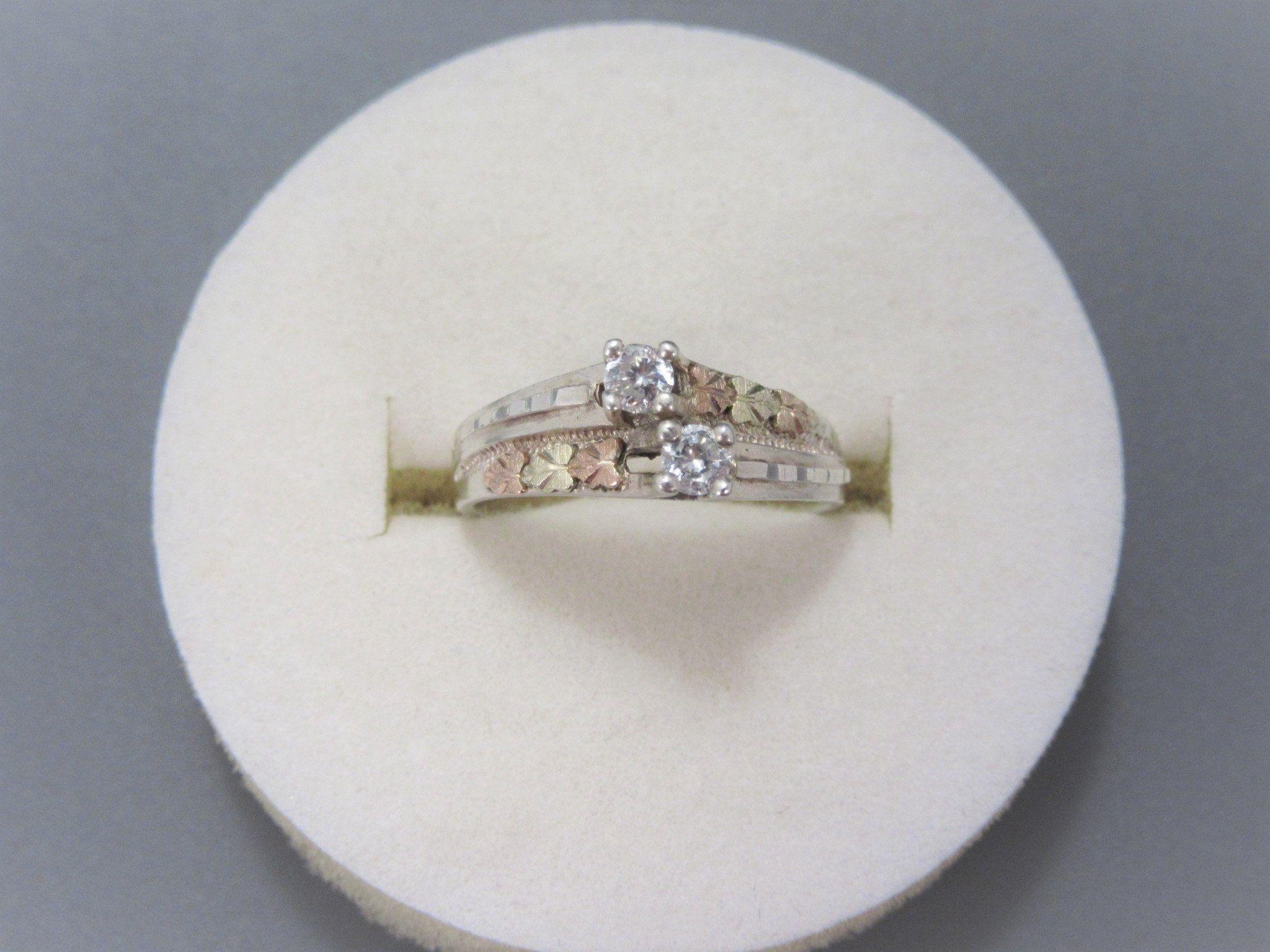 Vintage Black Hills Gold 12K Sterling CZ Ring Size 7