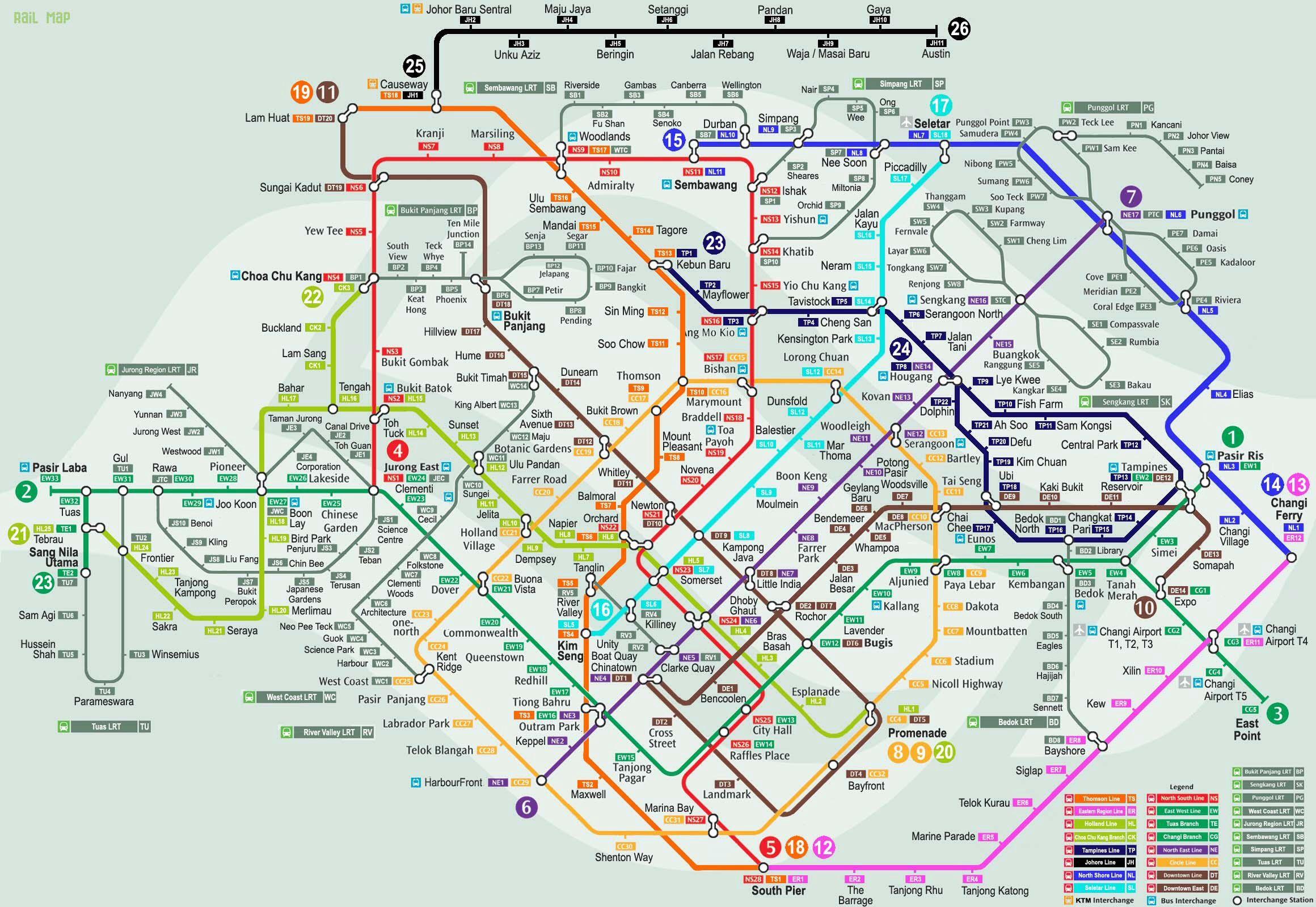Singapore Mrt Map Traveling Singapore Map Singapore Map
