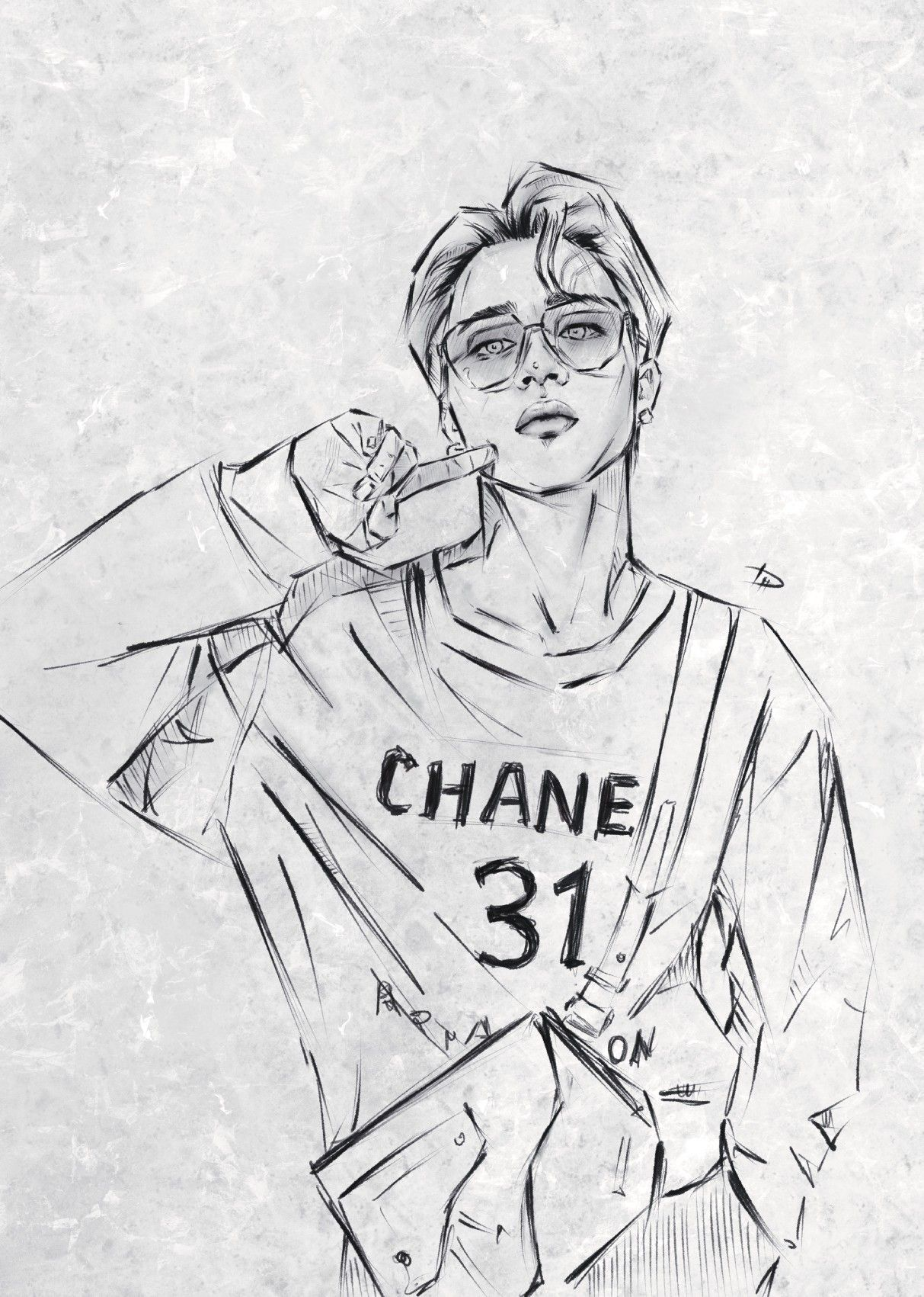 Photo of Park Jimin BTS sketch digital drawing k-pop fanart