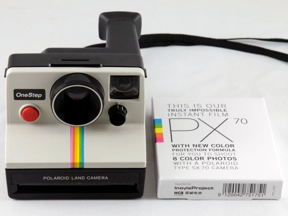 Polaroid SX-70 One Step White Rainbow Stripe Instant Land Camera Tested    Working with Impossible Project PX 70 Color Protection Film 2861ee37e32