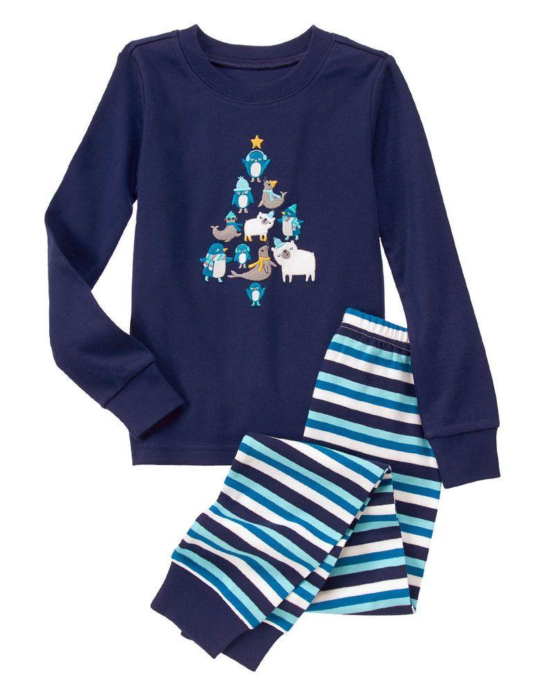 nwt gymboree polar pals christmas holiday gymmies pajamas pjs 2pc boys
