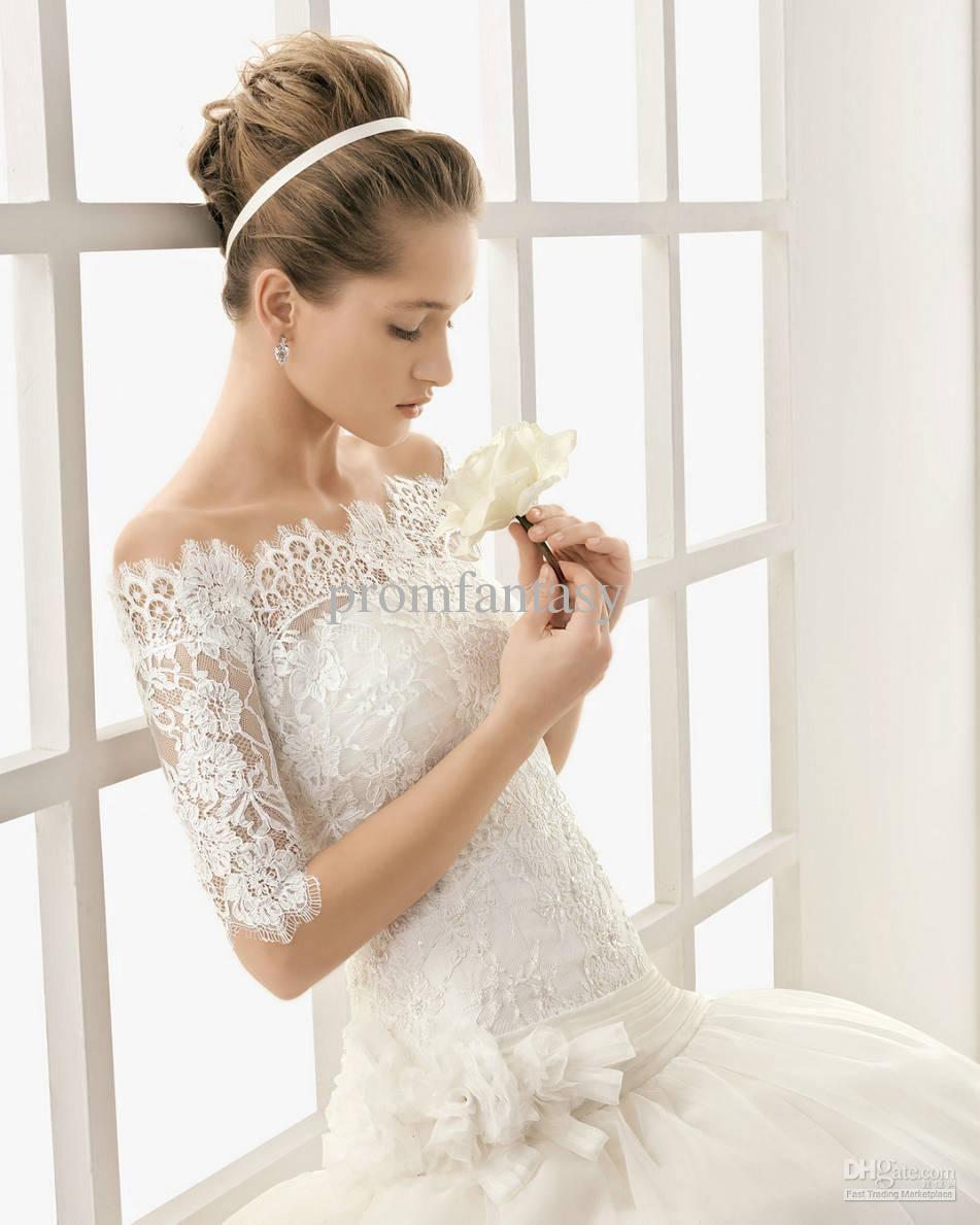 Wholesale 2013 Custom Made Off-Shoulder Vintage Long Sleeves White Lace Bolero Wedding Jackets Bridal Wraps, Free shipping, $26.88-43.8/Piece   DHgate