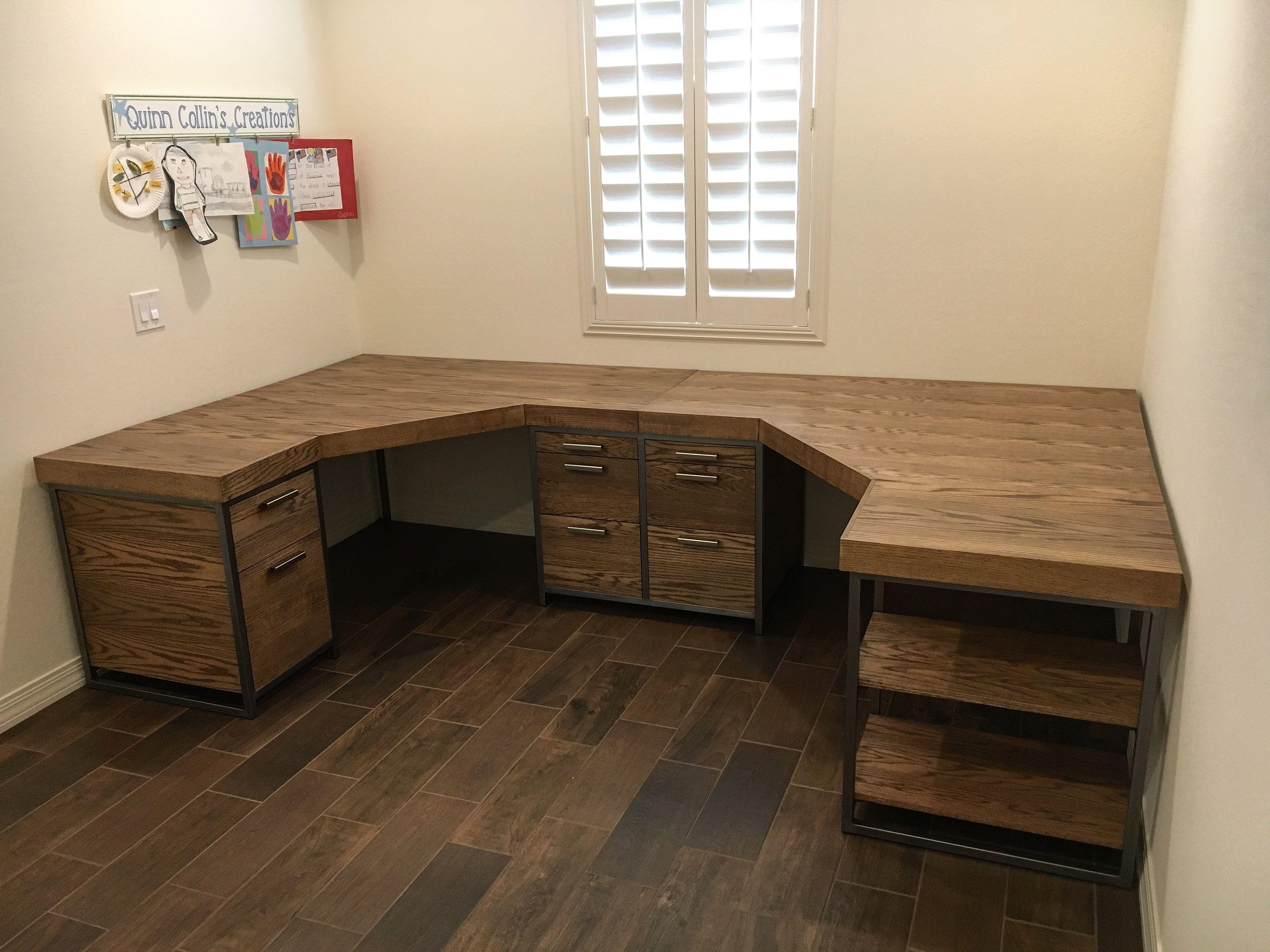Oak Wood With Metal Frame Custom Made Double Corner Desk