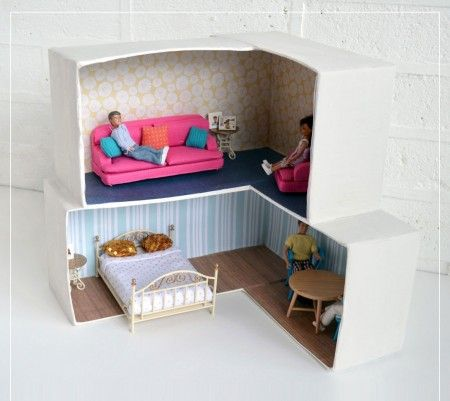 Como hacer una casa de mu ecas de carton magic pinterest manualidades doll houses and dolls - Como hacer una casa de carton pequena ...